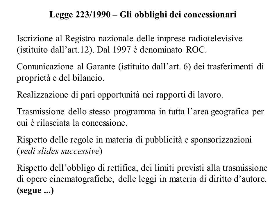 Legge 223/1990 – Gli obblighi dei concessionari Iscrizione al Registro nazionale delle imprese radiotelevisive (istituito dallart.12). Dal 1997 è deno