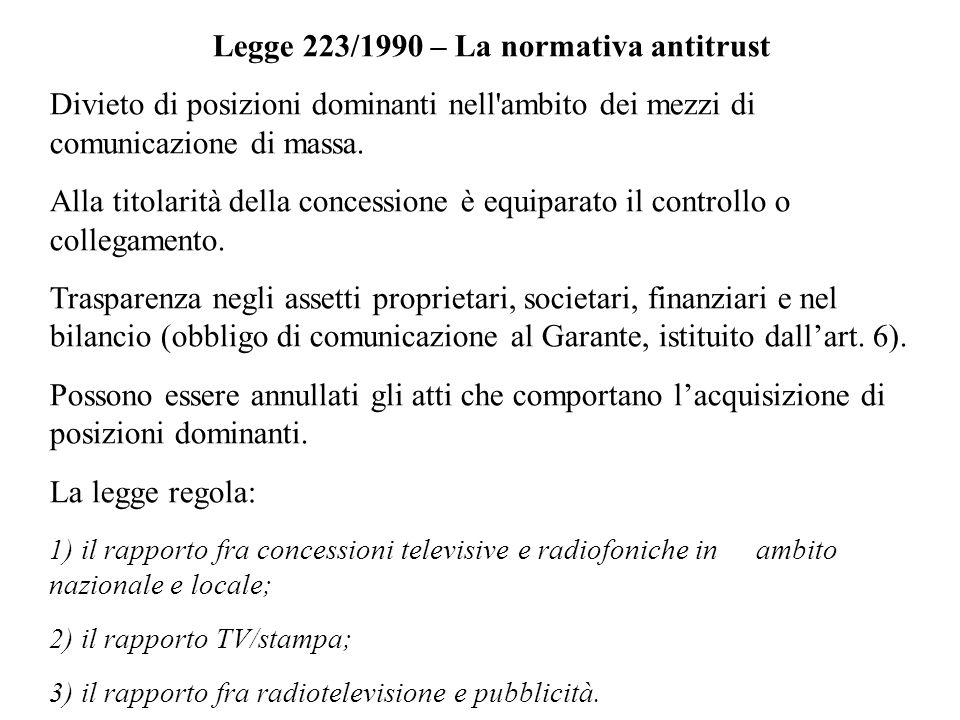 Legge 223/1990 – La normativa antitrust Divieto di posizioni dominanti nell'ambito dei mezzi di comunicazione di massa. Alla titolarità della concessi
