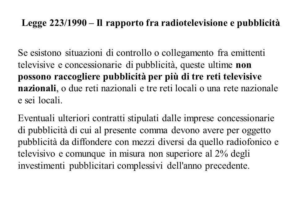 Legge 223/1990 – Il rapporto fra radiotelevisione e pubblicità Se esistono situazioni di controllo o collegamento fra emittenti televisive e concessio