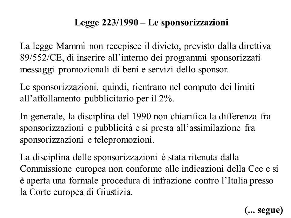 Legge 223/1990 – Le sponsorizzazioni La legge Mammì non recepisce il divieto, previsto dalla direttiva 89/552/CE, di inserire allinterno dei programmi