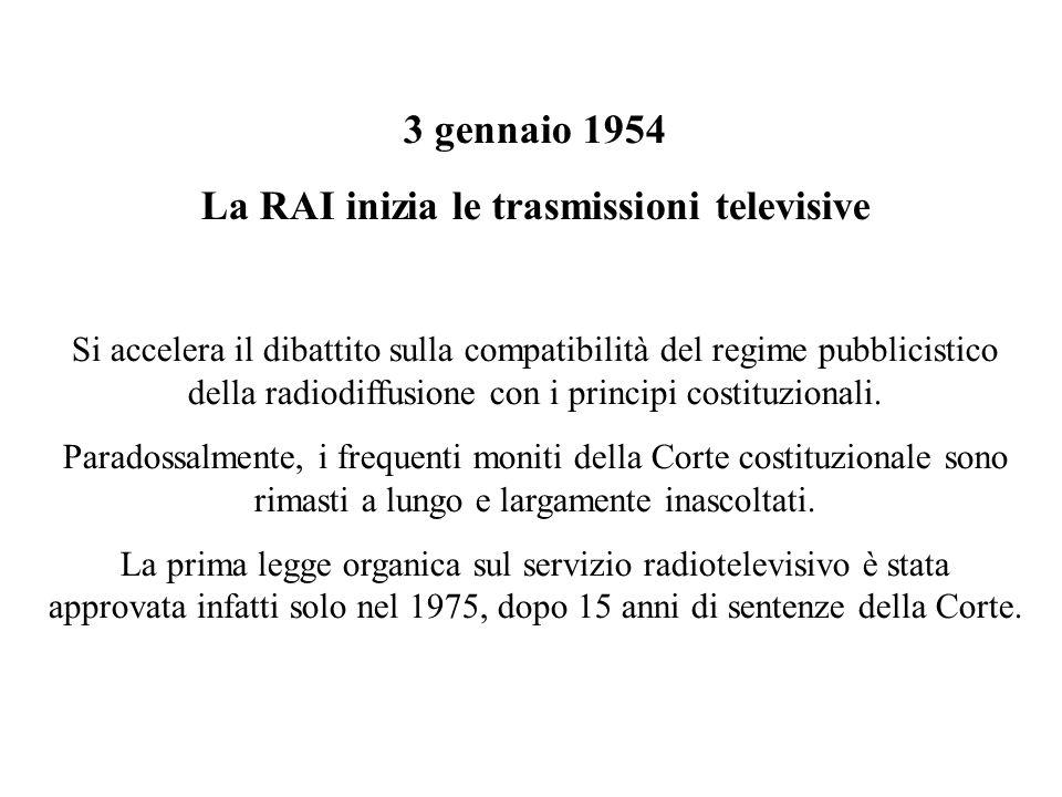 3 gennaio 1954 La RAI inizia le trasmissioni televisive Si accelera il dibattito sulla compatibilità del regime pubblicistico della radiodiffusione co