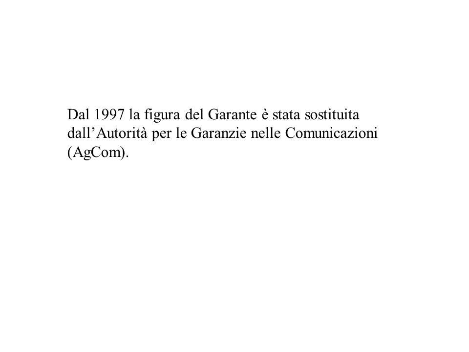Dal 1997 la figura del Garante è stata sostituita dallAutorità per le Garanzie nelle Comunicazioni (AgCom).