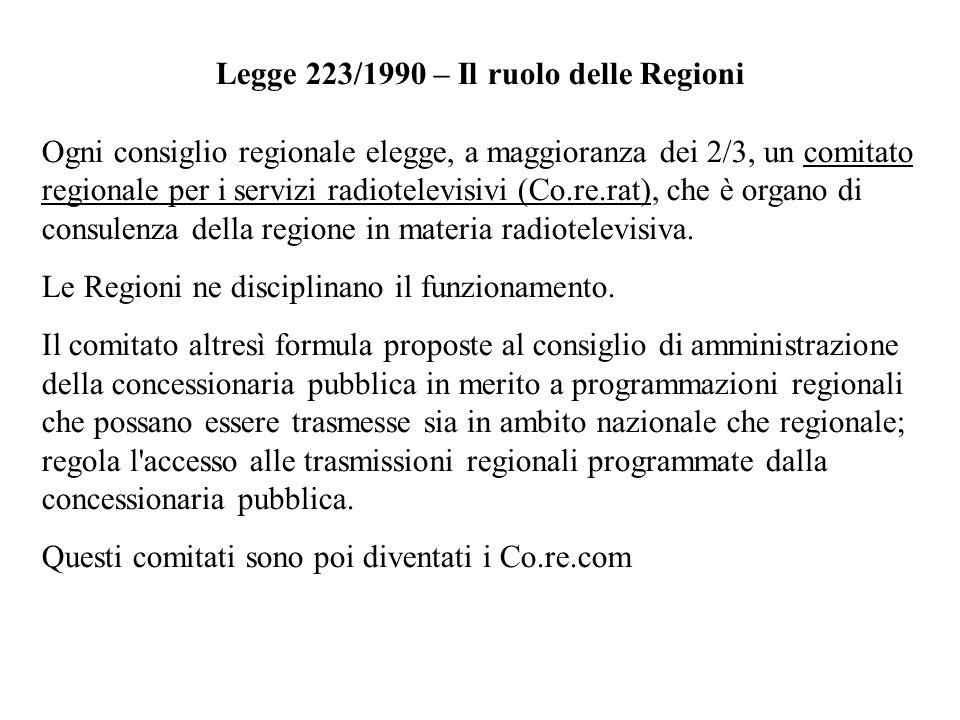 Legge 223/1990 – Il ruolo delle Regioni Ogni consiglio regionale elegge, a maggioranza dei 2/3, un comitato regionale per i servizi radiotelevisivi (C