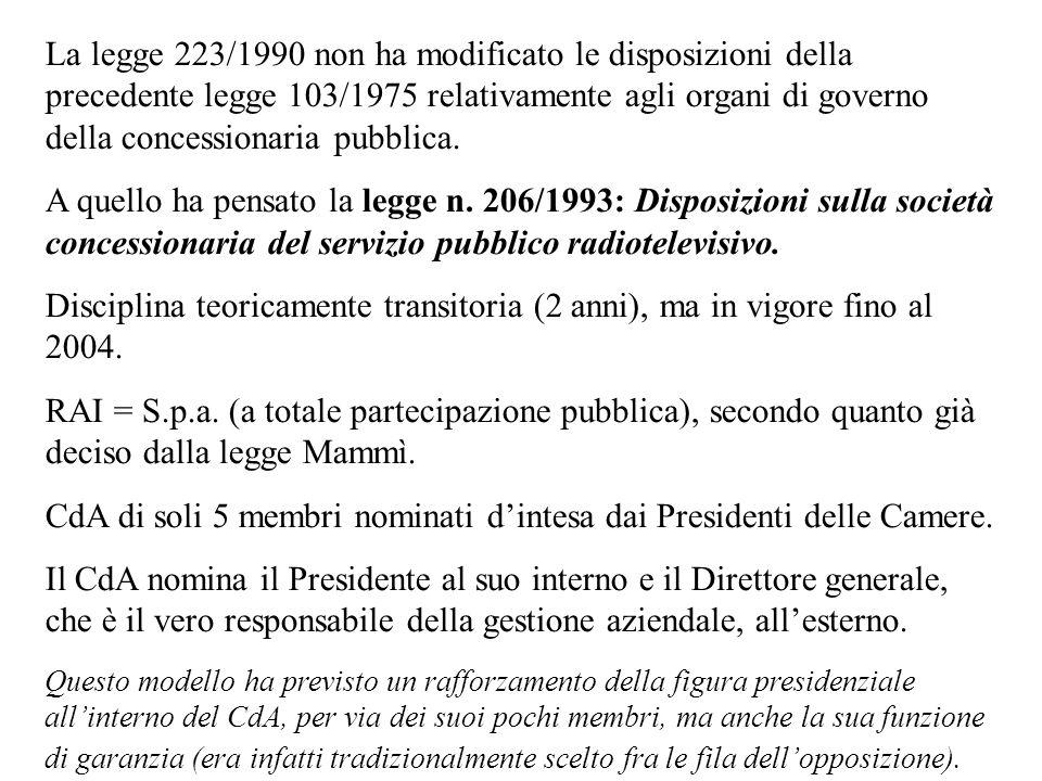 La legge 223/1990 non ha modificato le disposizioni della precedente legge 103/1975 relativamente agli organi di governo della concessionaria pubblica