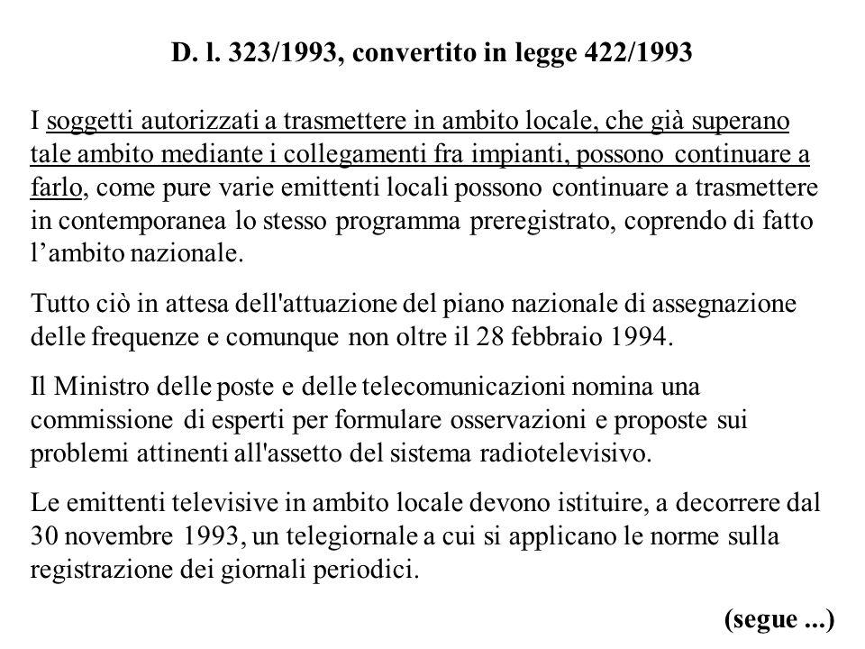 D. l. 323/1993, convertito in legge 422/1993 I soggetti autorizzati a trasmettere in ambito locale, che già superano tale ambito mediante i collegamen