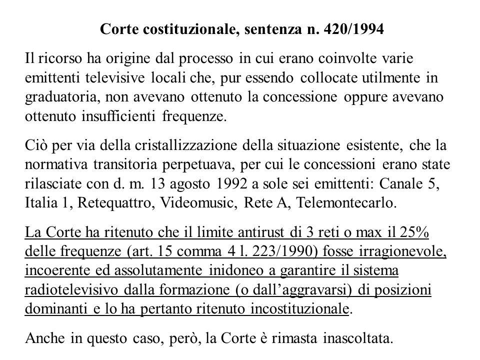 Corte costituzionale, sentenza n. 420/1994 Il ricorso ha origine dal processo in cui erano coinvolte varie emittenti televisive locali che, pur essend