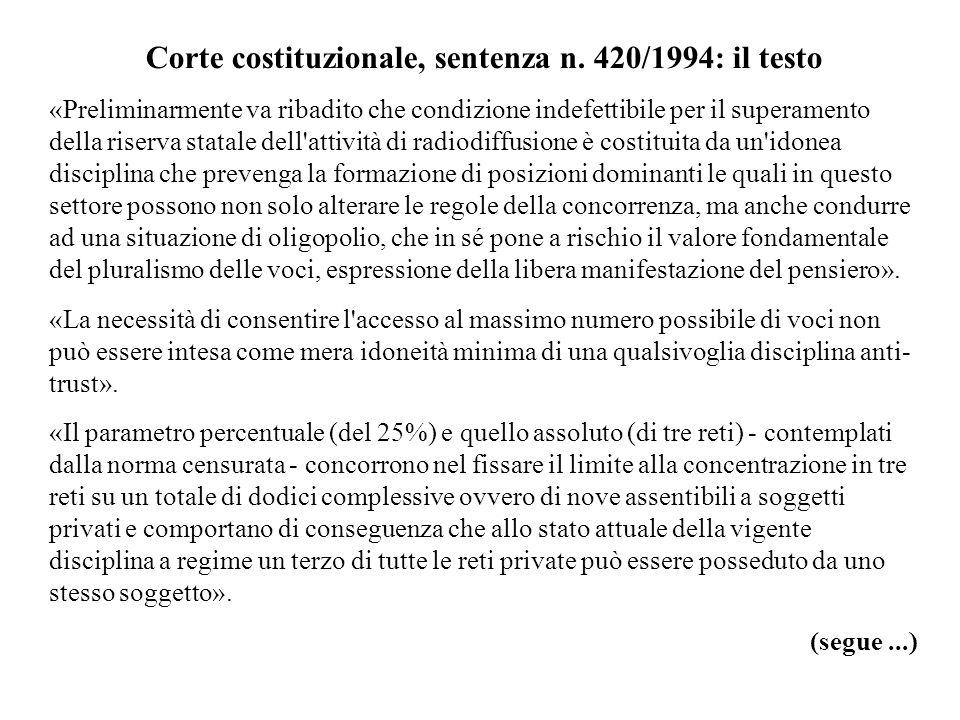 Corte costituzionale, sentenza n. 420/1994: il testo «Preliminarmente va ribadito che condizione indefettibile per il superamento della riserva statal