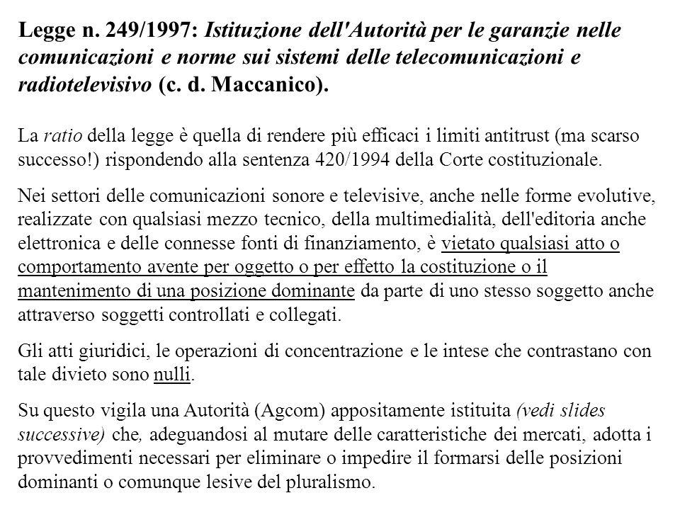 Legge n. 249/1997: Istituzione dell'Autorità per le garanzie nelle comunicazioni e norme sui sistemi delle telecomunicazioni e radiotelevisivo (c. d.