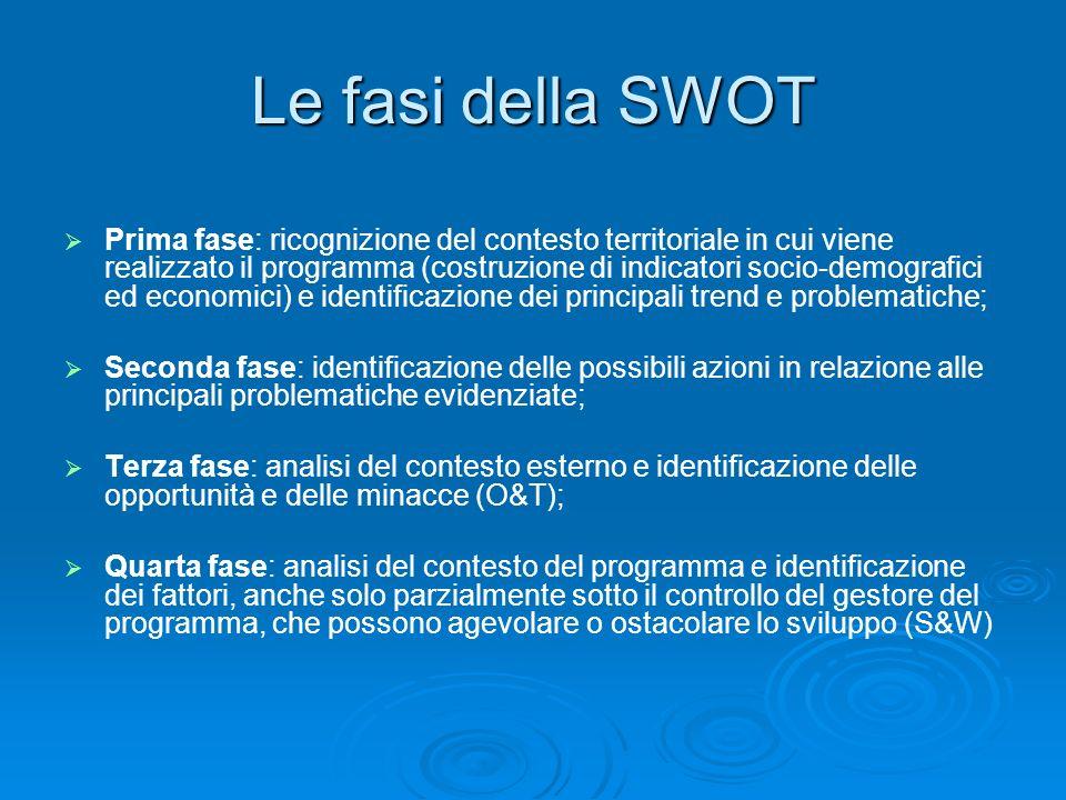 Le fasi della SWOT Prima fase: ricognizione del contesto territoriale in cui viene realizzato il programma (costruzione di indicatori socio-demografic