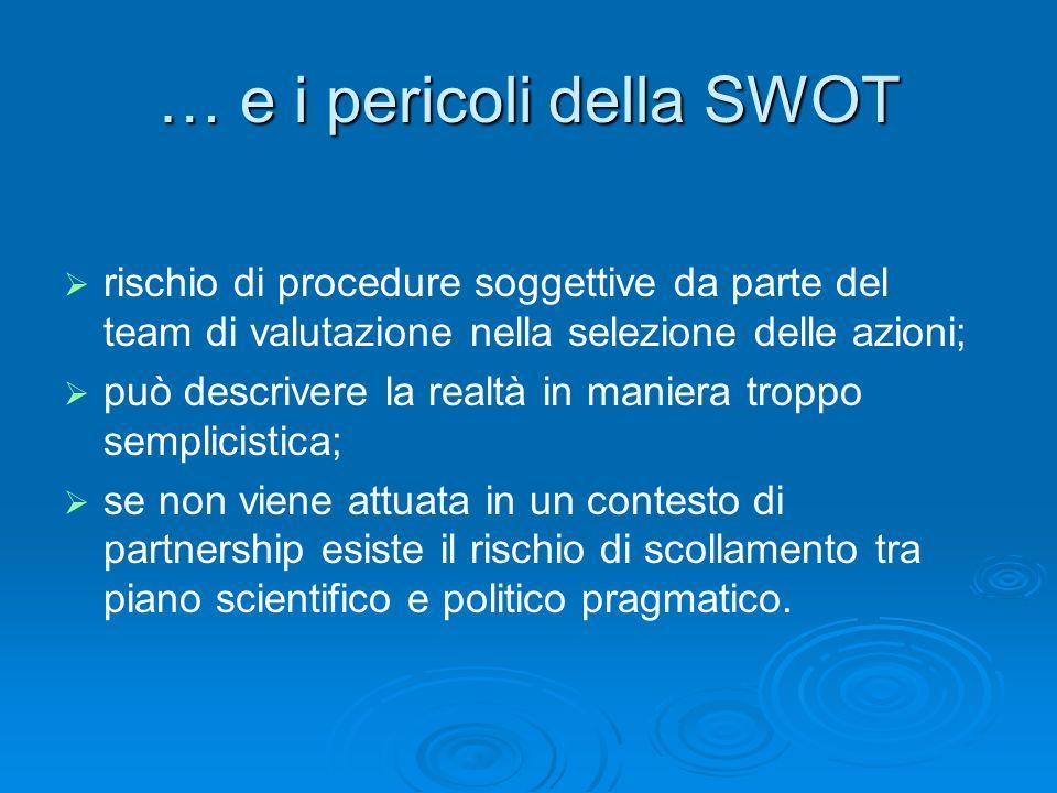 … e i pericoli della SWOT rischio di procedure soggettive da parte del team di valutazione nella selezione delle azioni; può descrivere la realtà in m