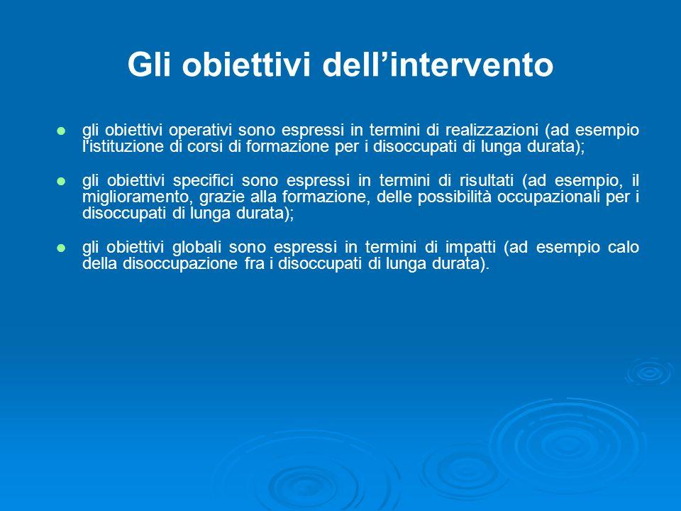 Gli obiettivi dellintervento gli obiettivi operativi sono espressi in termini di realizzazioni (ad esempio l'istituzione di corsi di formazione per i