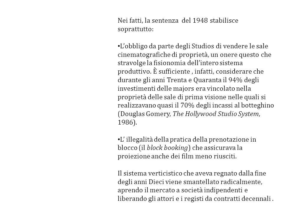 Nei fatti, la sentenza del 1948 stabilisce soprattutto: Lobbligo da parte degli Studios di vendere le sale cinematografiche di proprietà, un onere que