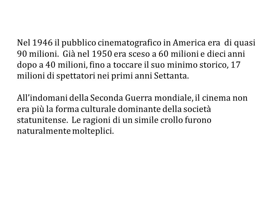Nel 1946 il pubblico cinematografico in America era di quasi 90 milioni. Già nel 1950 era sceso a 60 milioni e dieci anni dopo a 40 milioni, fino a to