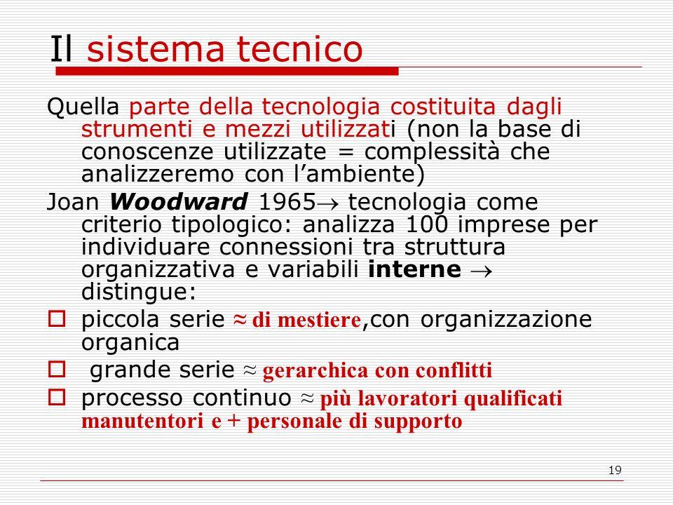 19 Il sistema tecnico Quella parte della tecnologia costituita dagli strumenti e mezzi utilizzati (non la base di conoscenze utilizzate = complessità