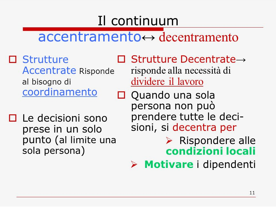 11 Il continuum accentramento decentramento Strutture Accentrate Risponde al bisogno di coordinamento Le decisioni sono prese in un solo punto ( al li