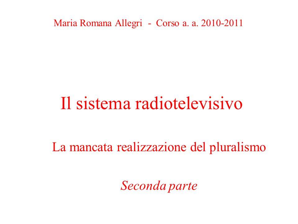 Il sistema radiotelevisivo La mancata realizzazione del pluralismo Seconda parte Maria Romana Allegri - Corso a.