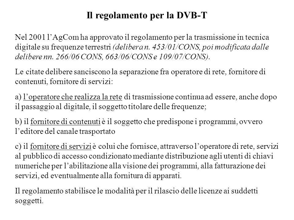 Il regolamento per la DVB-T Nel 2001 lAgCom ha approvato il regolamento per la trasmissione in tecnica digitale su frequenze terrestri (delibera n.