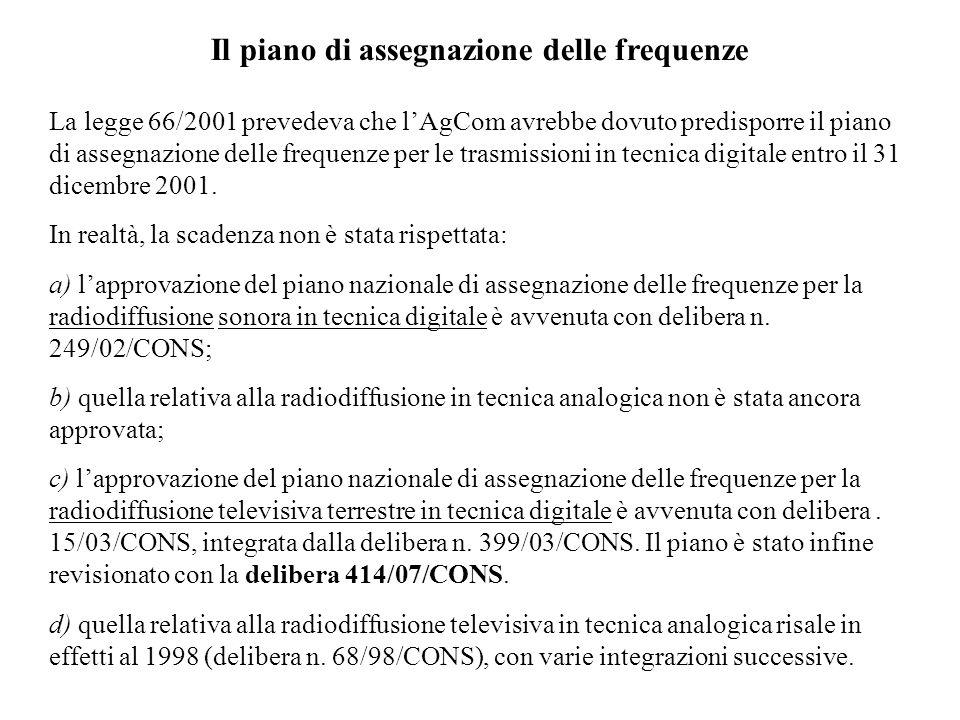 Il piano di assegnazione delle frequenze La legge 66/2001 prevedeva che lAgCom avrebbe dovuto predisporre il piano di assegnazione delle frequenze per le trasmissioni in tecnica digitale entro il 31 dicembre 2001.