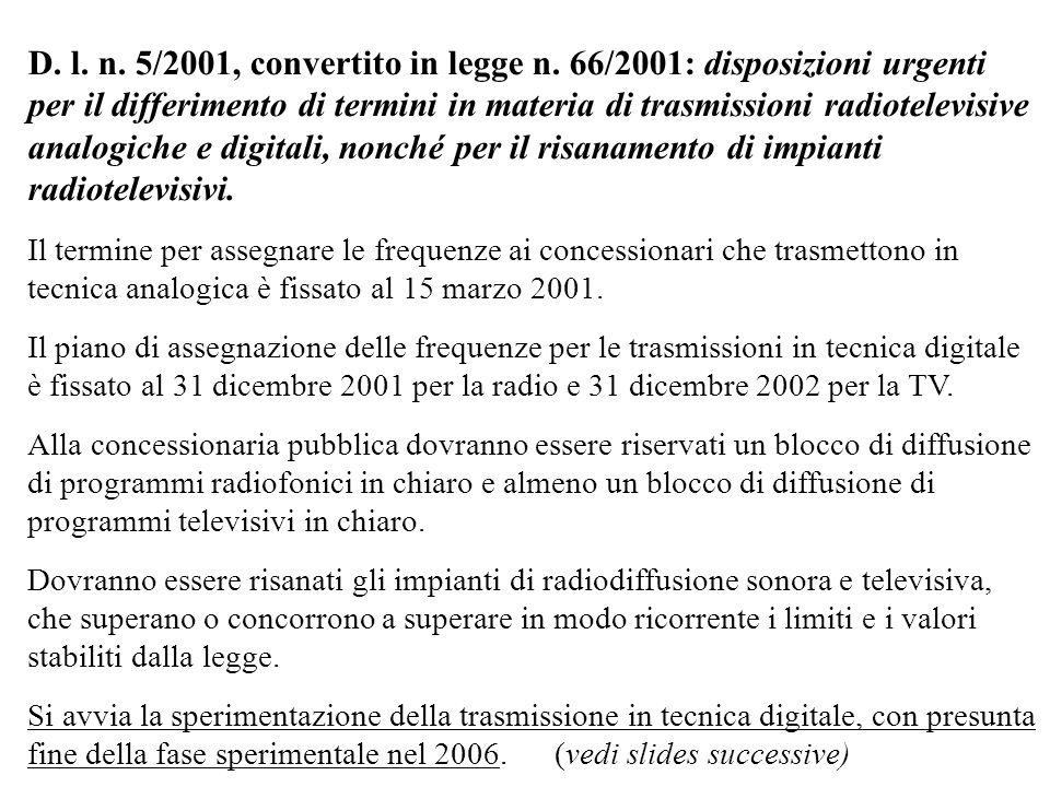 D.l. n. 5/2001, convertito in legge n.