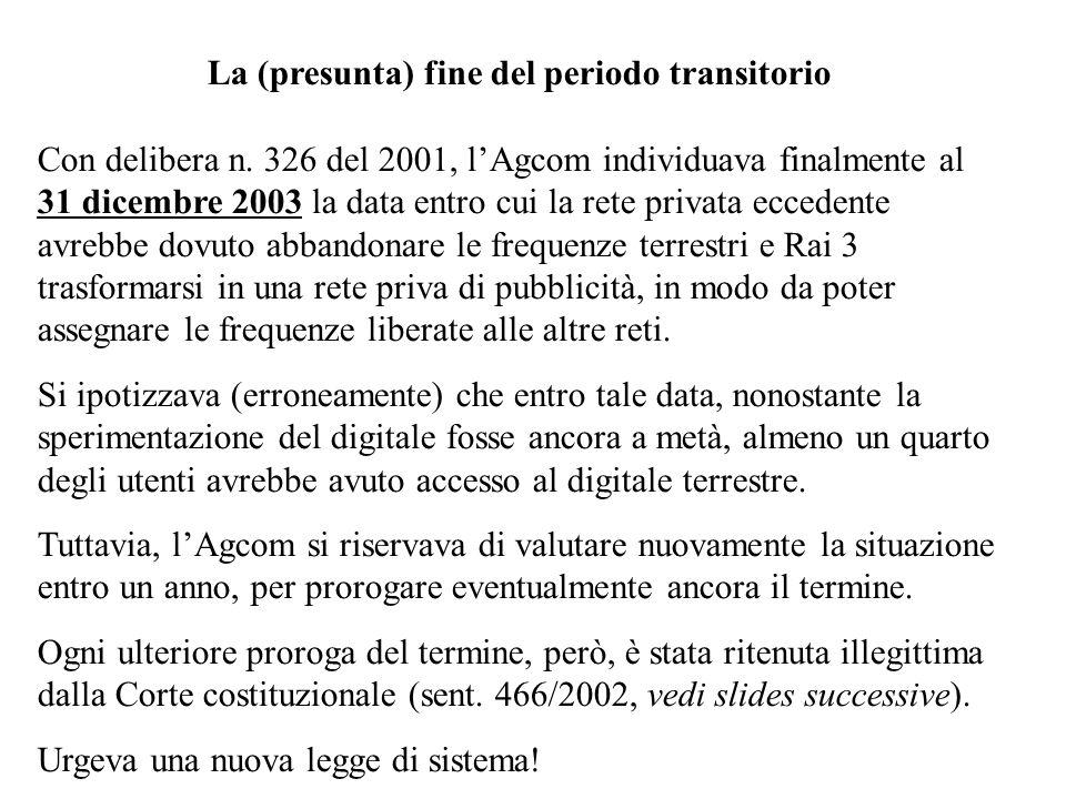 La (presunta) fine del periodo transitorio Con delibera n.