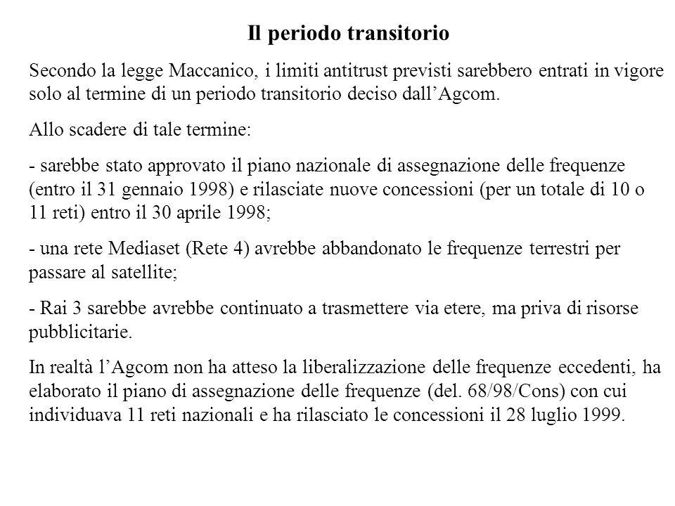 Il periodo transitorio Secondo la legge Maccanico, i limiti antitrust previsti sarebbero entrati in vigore solo al termine di un periodo transitorio deciso dallAgcom.