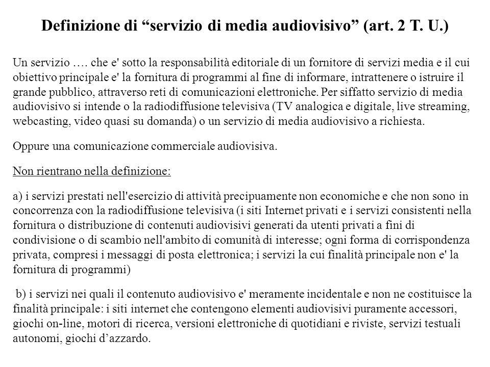 Definizione di servizio di media audiovisivo (art.