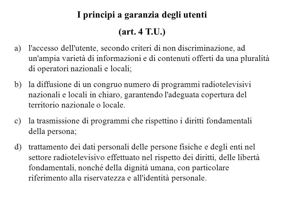 I principi a garanzia degli utenti (art.