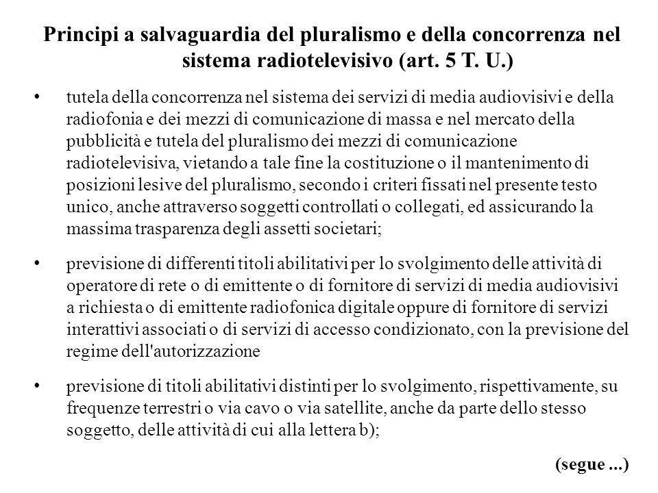 Principi a salvaguardia del pluralismo e della concorrenza nel sistema radiotelevisivo (art.