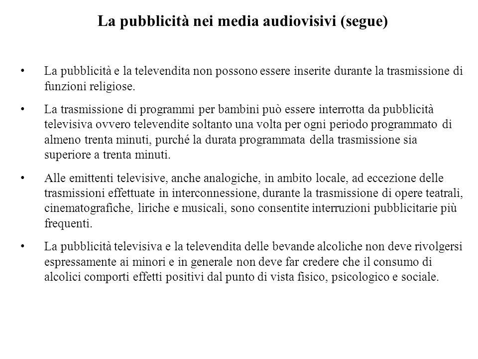 La pubblicità nei media audiovisivi (segue) La pubblicità e la televendita non possono essere inserite durante la trasmissione di funzioni religiose.