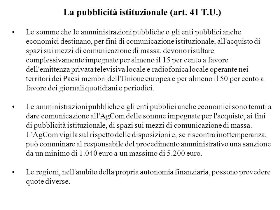 La pubblicità istituzionale (art.