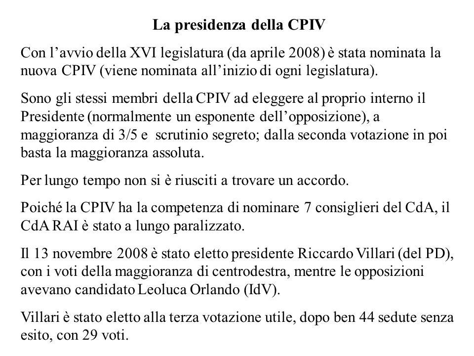 La presidenza della CPIV Con lavvio della XVI legislatura (da aprile 2008) è stata nominata la nuova CPIV (viene nominata allinizio di ogni legislatura).