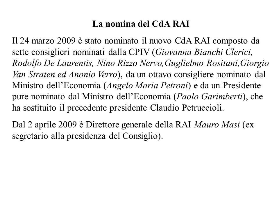 La nomina del CdA RAI Il 24 marzo 2009 è stato nominato il nuovo CdA RAI composto da sette consiglieri nominati dalla CPIV (Giovanna Bianchi Clerici, Rodolfo De Laurentis, Nino Rizzo Nervo,Guglielmo Rositani,Giorgio Van Straten ed Anonio Verro), da un ottavo consigliere nominato dal Ministro dellEconomia (Angelo Maria Petroni) e da un Presidente pure nominato dal Ministro dellEconomia (Paolo Garimberti), che ha sostituito il precedente presidente Claudio Petruccioli.