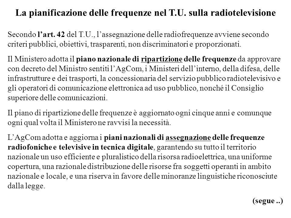 La pianificazione delle frequenze nel T.U.sulla radiotelevisione Secondo lart.