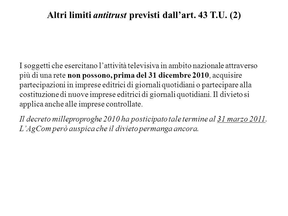 Altri limiti antitrust previsti dallart.43 T.U.