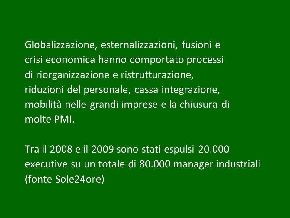 Globalizzazione, esternalizzazioni, fusioni e crisi economica hanno comportato processi di riorganizzazione e ristrutturazione, riduzioni del personal
