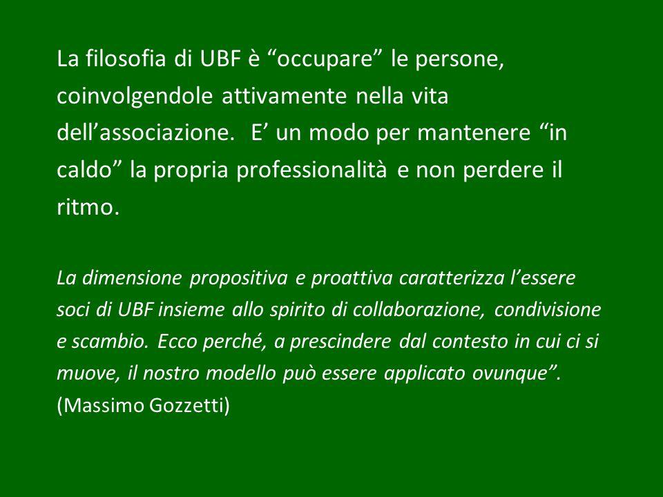 La filosofia di UBF è occupare le persone, coinvolgendole attivamente nella vita dellassociazione. E un modo per mantenere in caldo la propria profess