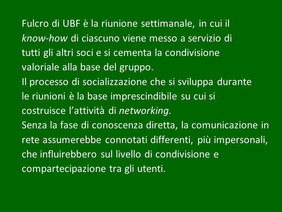 Fulcro di UBF è la riunione settimanale, in cui il know-how di ciascuno viene messo a servizio di tutti gli altri soci e si cementa la condivisione valoriale alla base del gruppo.
