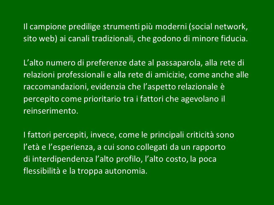 Il campione predilige strumenti più moderni (social network, sito web) ai canali tradizionali, che godono di minore fiducia. Lalto numero di preferenz