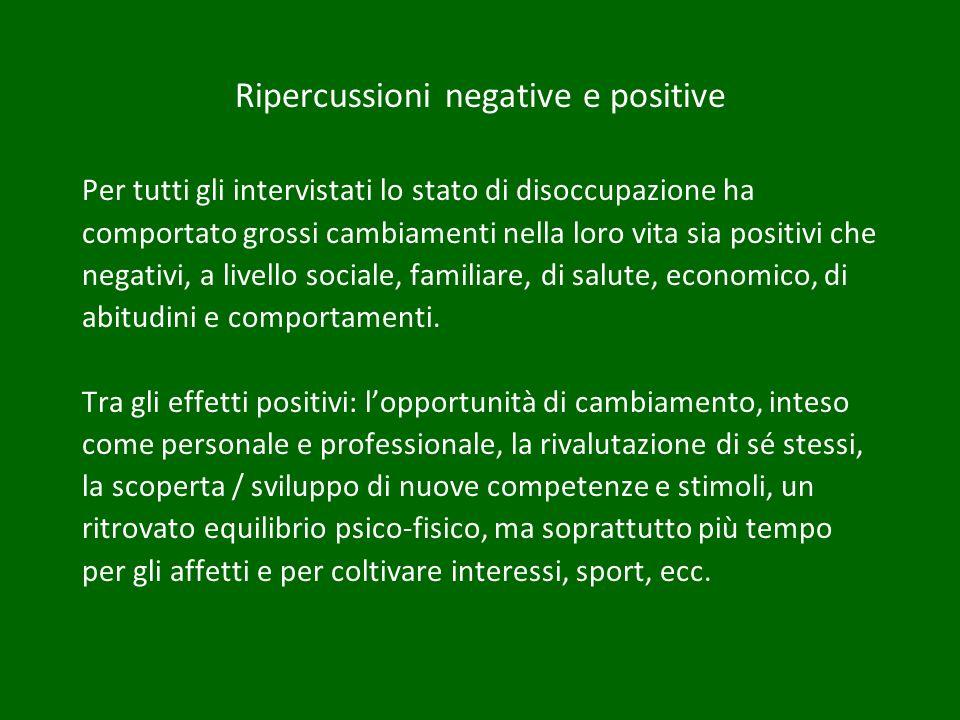 Ripercussioni negative e positive Per tutti gli intervistati lo stato di disoccupazione ha comportato grossi cambiamenti nella loro vita sia positivi che negativi, a livello sociale, familiare, di salute, economico, di abitudini e comportamenti.