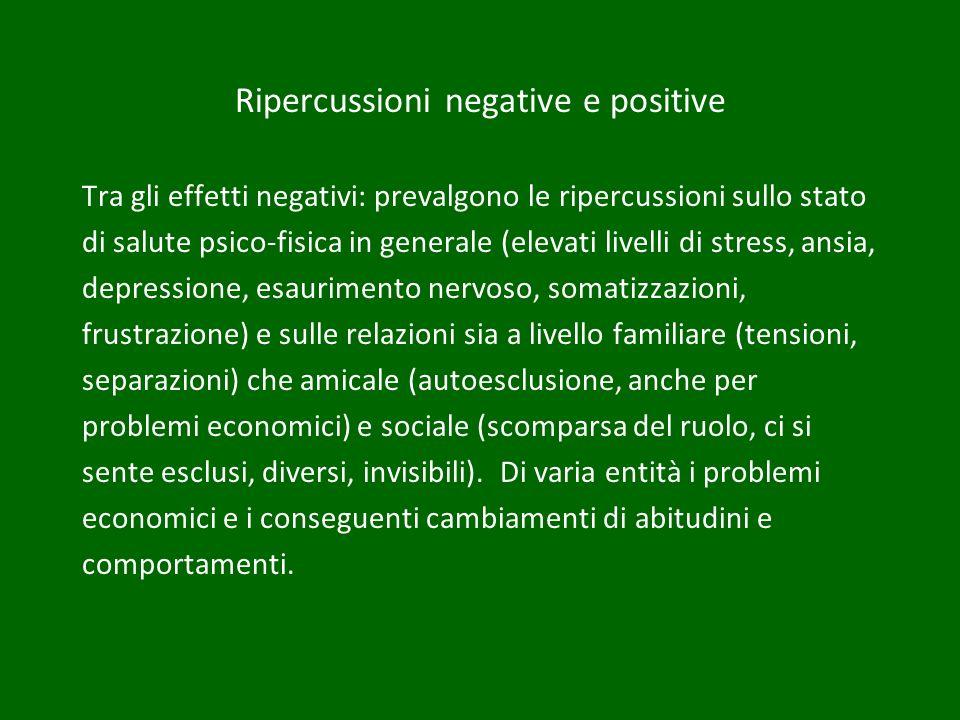Ripercussioni negative e positive Tra gli effetti negativi: prevalgono le ripercussioni sullo stato di salute psico-fisica in generale (elevati livell