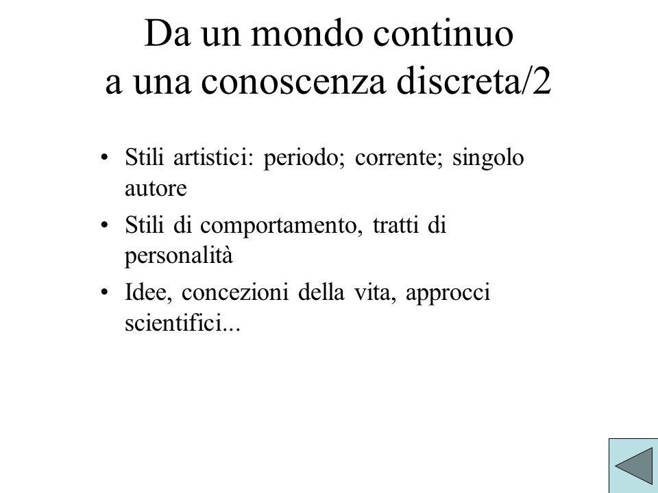 Da un mondo continuo a una conoscenza discreta/2 Stili artistici: periodo; corrente; singolo autore Stili di comportamento, tratti di personalità Idee