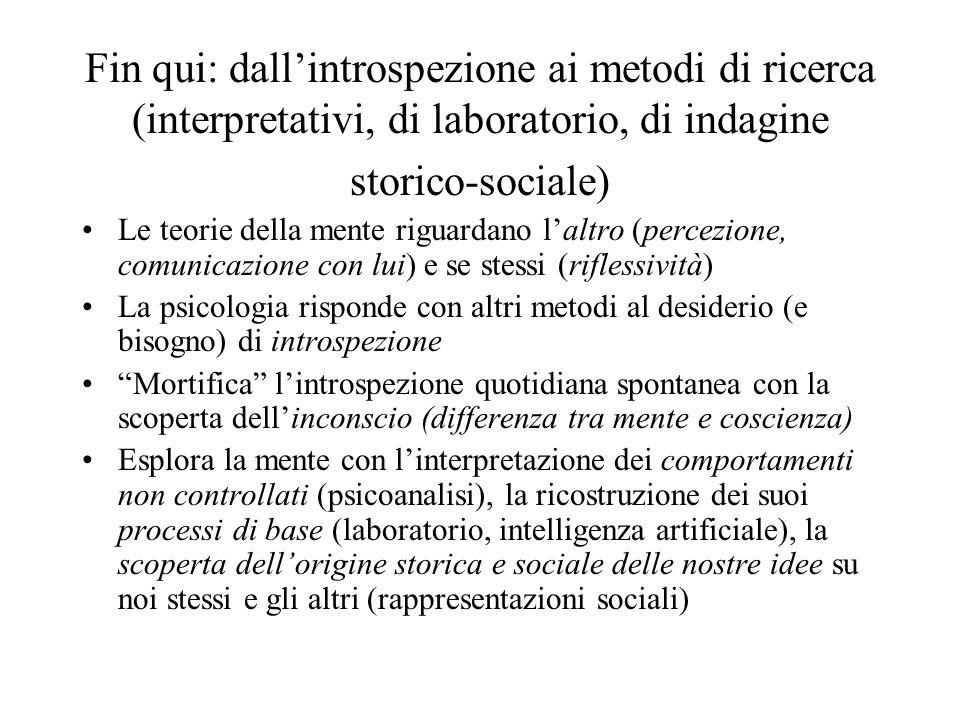 Fin qui: dallintrospezione ai metodi di ricerca (interpretativi, di laboratorio, di indagine storico-sociale) Le teorie della mente riguardano laltro