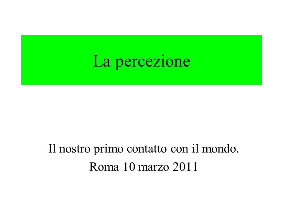 La percezione Il nostro primo contatto con il mondo. Roma 10 marzo 2011