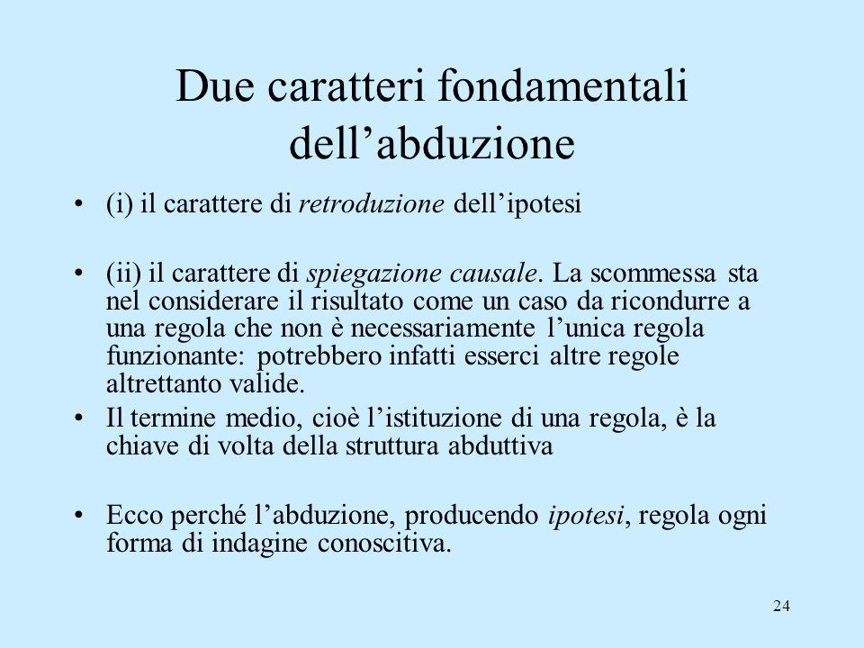 24 Due caratteri fondamentali dellabduzione (i) il carattere di retroduzione dellipotesi (ii) il carattere di spiegazione causale. La scommessa sta ne