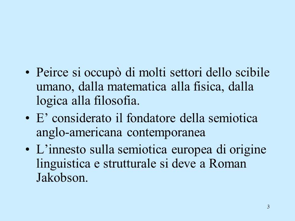 3 Peirce si occupò di molti settori dello scibile umano, dalla matematica alla fisica, dalla logica alla filosofia. E considerato il fondatore della s