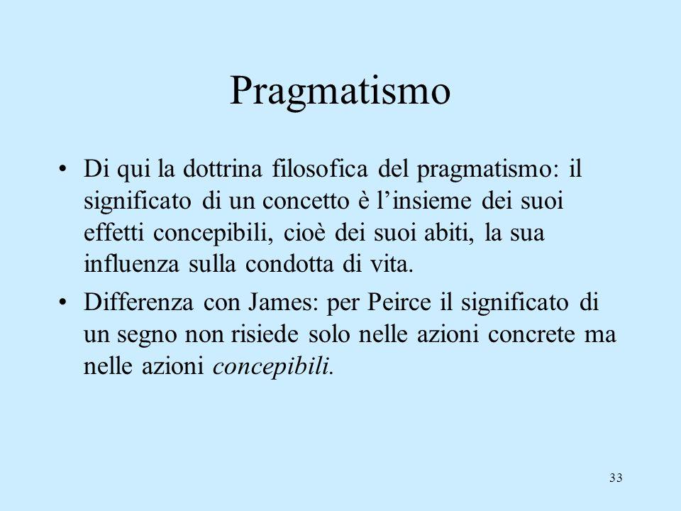 33 Pragmatismo Di qui la dottrina filosofica del pragmatismo: il significato di un concetto è linsieme dei suoi effetti concepibili, cioè dei suoi abi