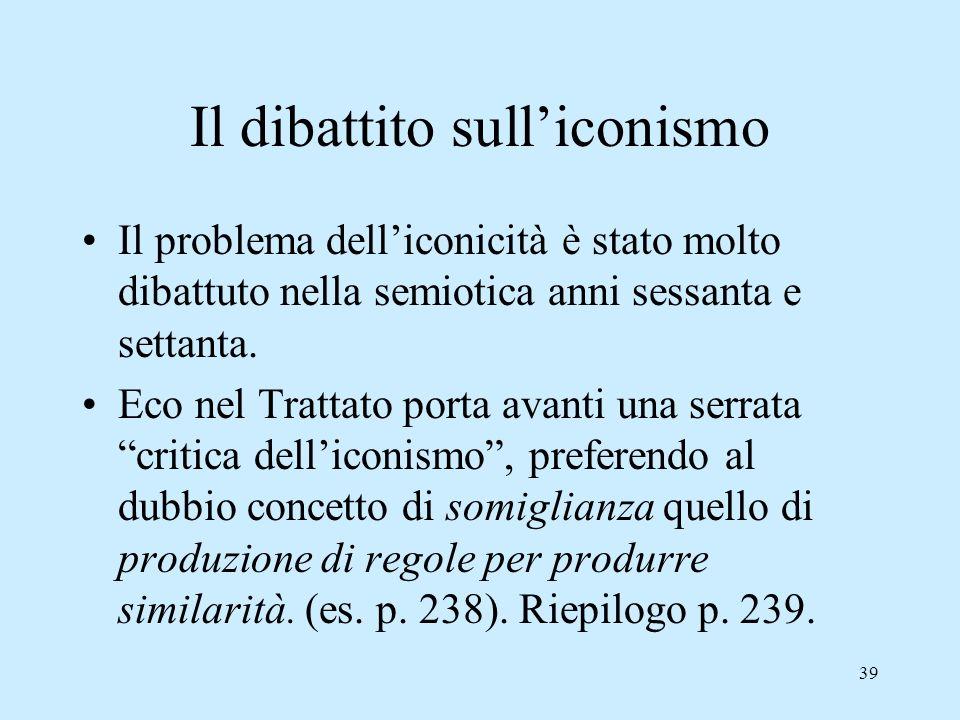 39 Il dibattito sulliconismo Il problema delliconicità è stato molto dibattuto nella semiotica anni sessanta e settanta. Eco nel Trattato porta avanti