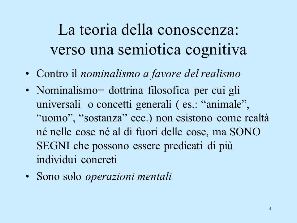 4 La teoria della conoscenza: verso una semiotica cognitiva Contro il nominalismo a favore del realismo Nominalismo= dottrina filosofica per cui gli u