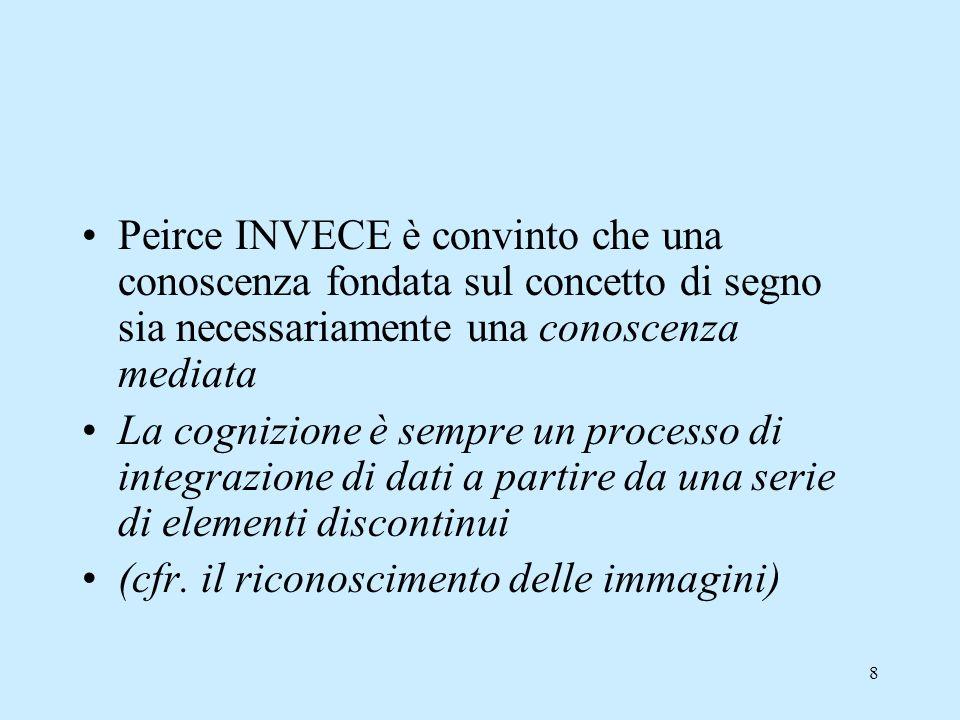 8 Peirce INVECE è convinto che una conoscenza fondata sul concetto di segno sia necessariamente una conoscenza mediata La cognizione è sempre un proce