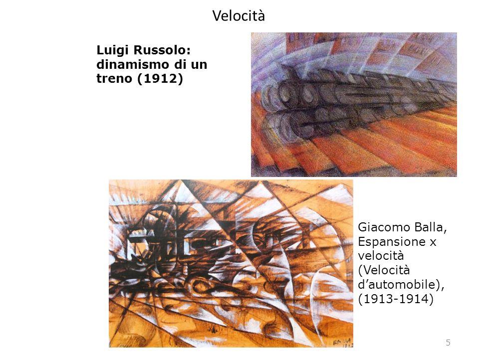 Velocità 5 Luigi Russolo: dinamismo di un treno (1912) Giacomo Balla, Espansione x velocità (Velocità dautomobile), (1913-1914)